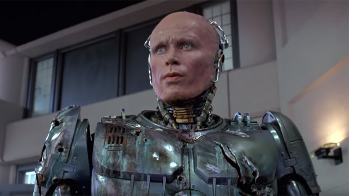 Schauspieler Peter Weller als Cyborg RoboCop