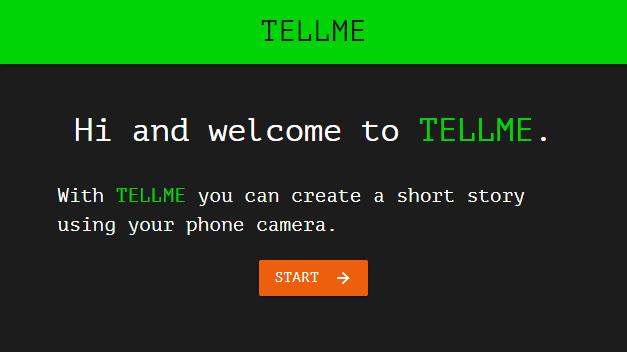 Ein Screenshot der Startseite der Web-App TELLME