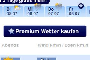 Button mit der Beschriftung Premium Wetter kaufen