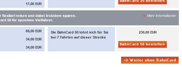 Sackgassen-Formular bei der Deutschen Bahn