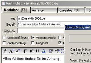 Das E-Mail - Programm mit einer neuen Nachricht