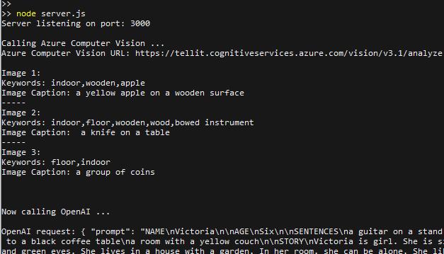 Die Ausgabe des Node.js-Servers. Zunächst werden die Informationen aus Fotos extrahiert und dann an GPT-3 als Prompt übermittelt.